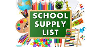 Middle School Supply List for 2020 - 2021